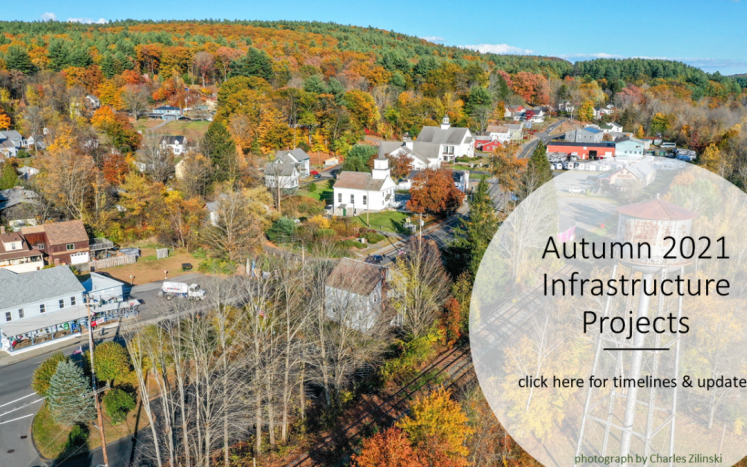 """A fall landscape drone photograph of Erving Center with text """"Autumn 2021 Infrastructure Projects"""""""